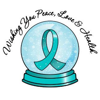 Ovarian Cancer Ribbon Merry Christmas Snowglobe