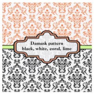 Black, white, coral, lime damask pattern