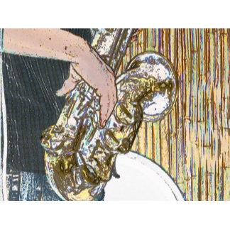 sax player posterized saxophone golden
