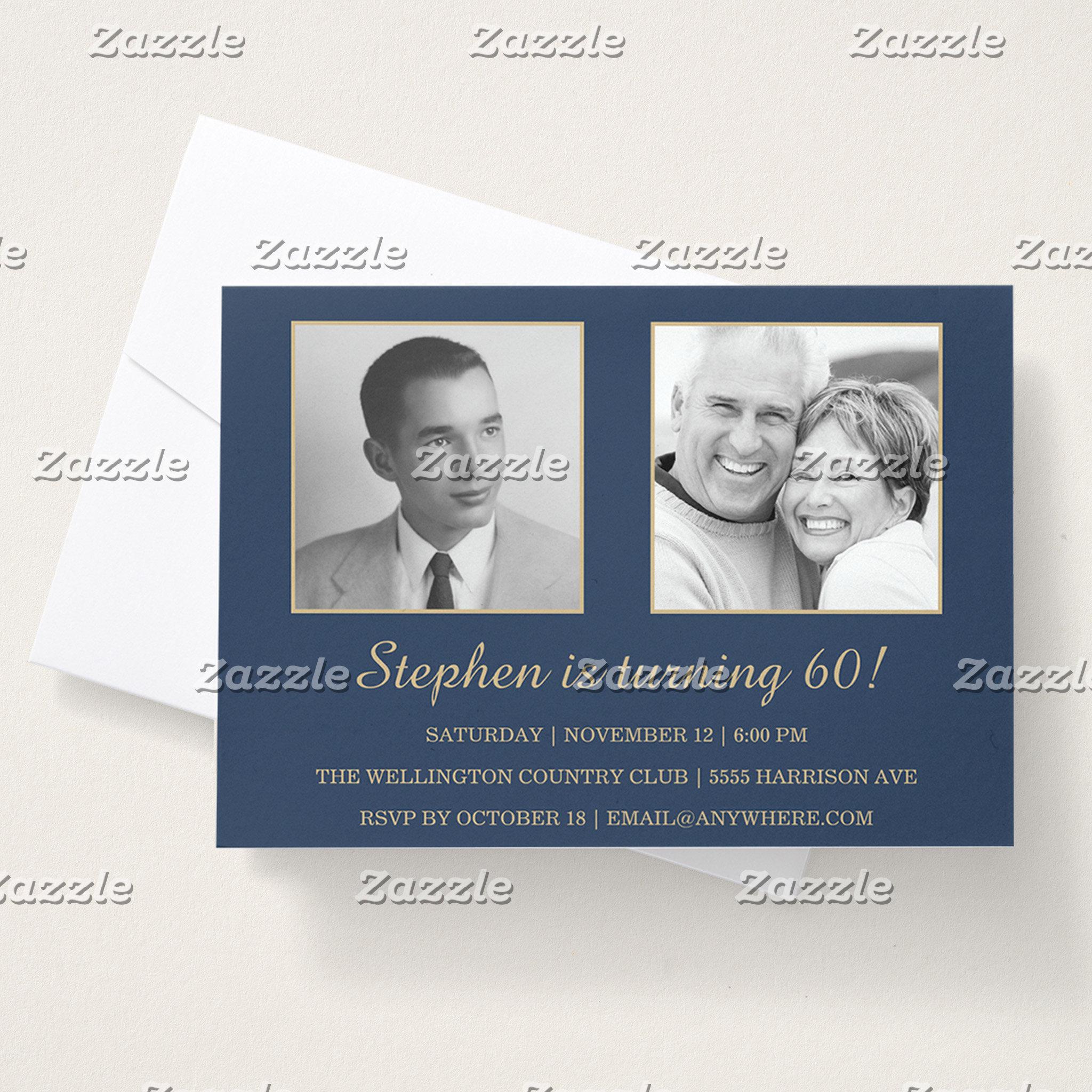 Gold & Navy 60th Photo Birthday