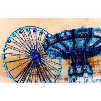 Yellow blue invert ferris wheel swings fair rides