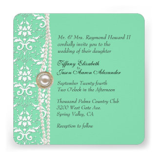 Mint Green with Pearls Wedding Set