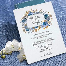Garden Gold Floral Wedding Invites