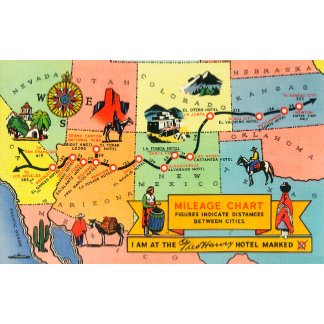 Map of Fred Harvey Hotel LocationsCA to KS