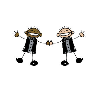 Two Grooms Dancing Happy Interracial