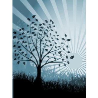 Trees, Leaves, Grass Silhouette & Sunburst Blue
