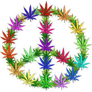 Rainbow Peace Marijuana Leaf Art