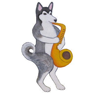 Alaskan Malamute on Saxophone