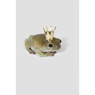 A frog wearing a crown