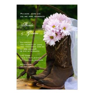 Rustic Pink Daisies Cowboy Boots Wedding