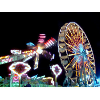 Fair carnival rides at nightmotion photograph pic