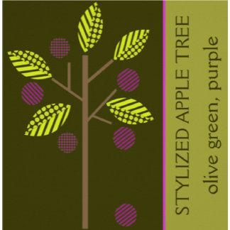 Stylized apple tree purple, olive green