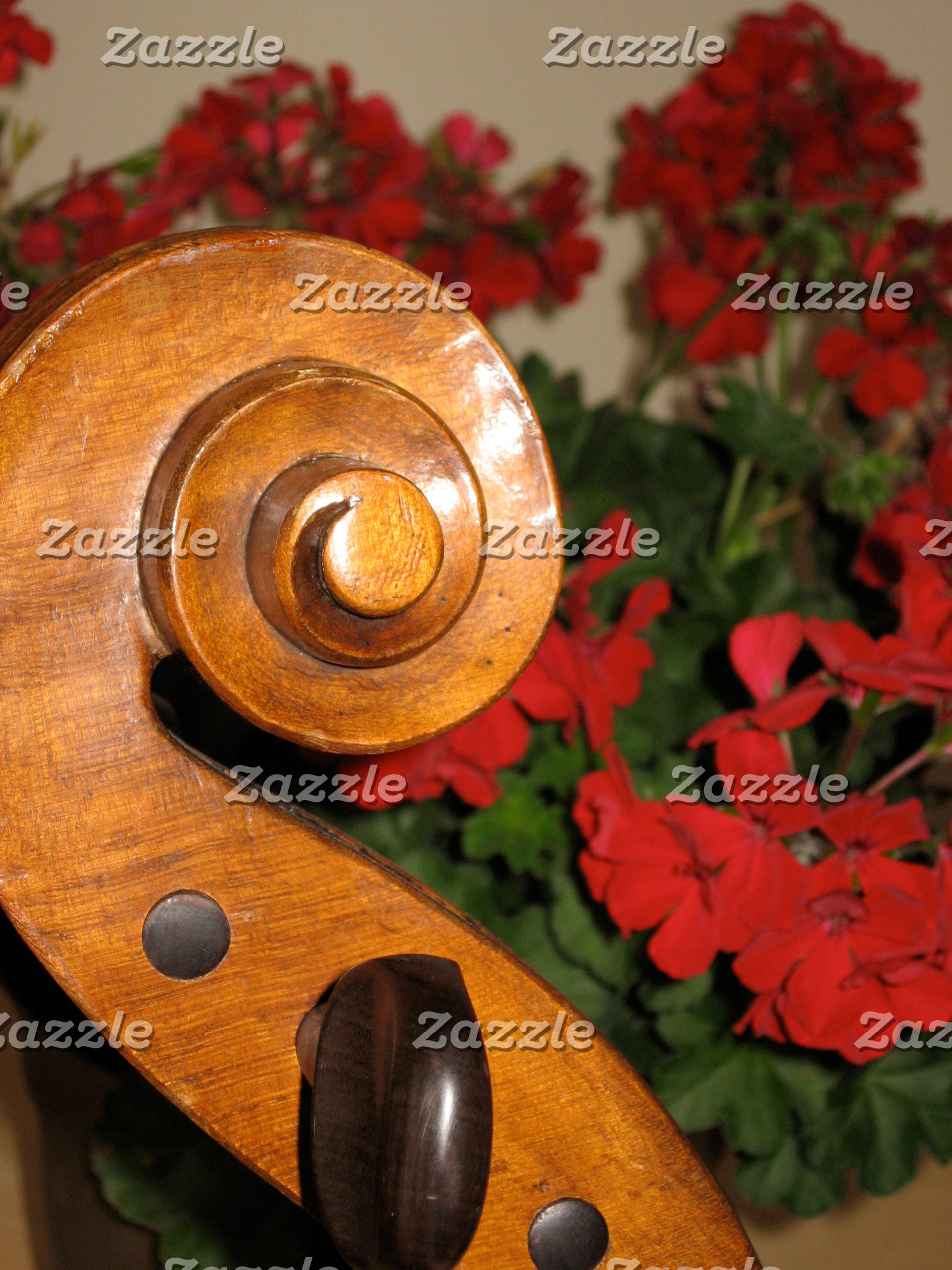 Cello Scroll Flowers