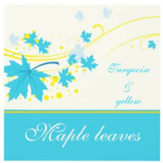 Maple leaves turquoise yellow