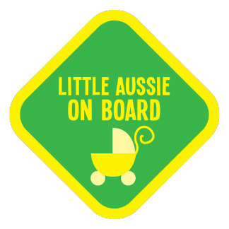 Little Aussie on Board on a sign