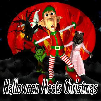 Halloween Meets Christmas Elf fleeing