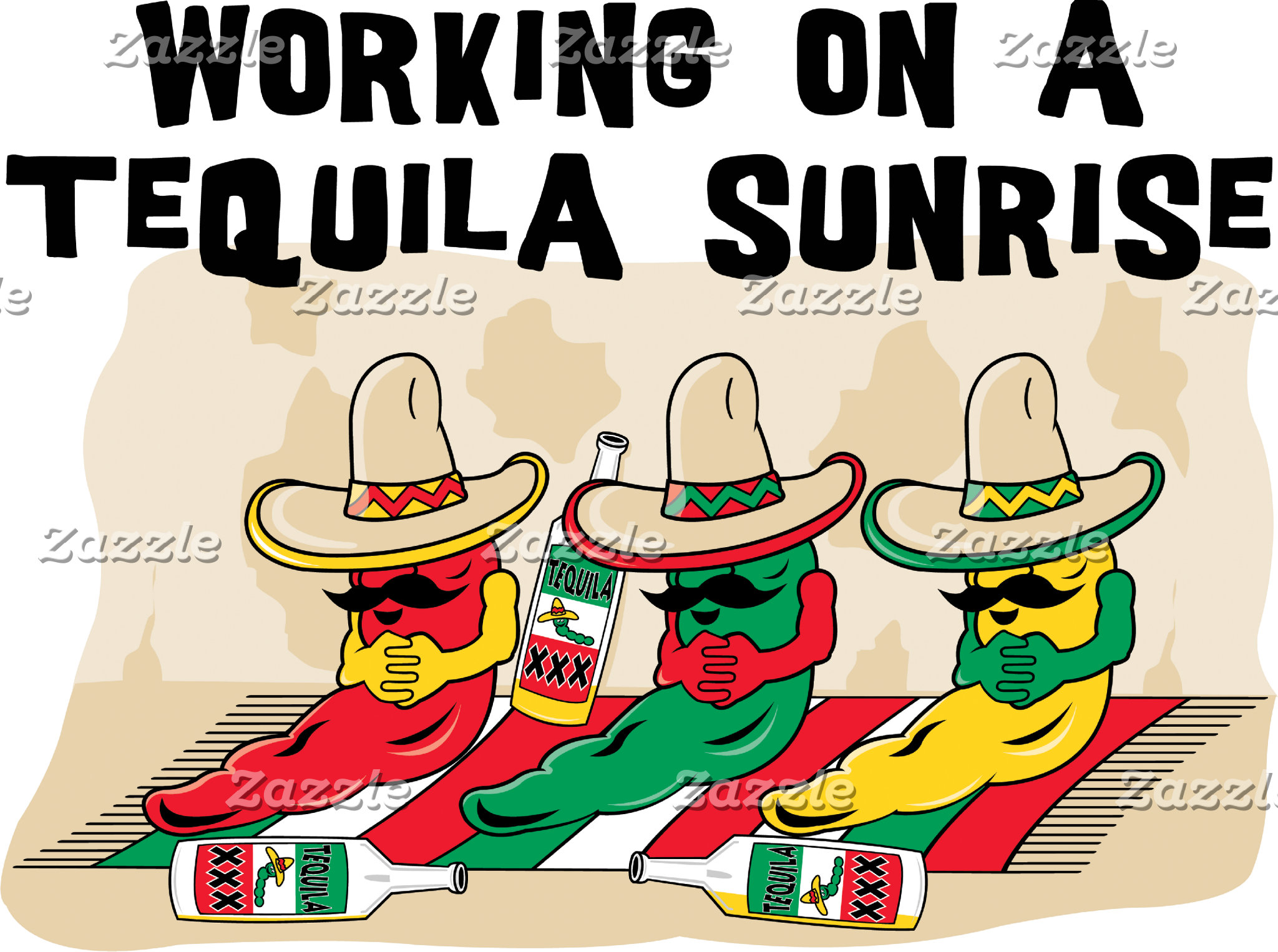 Funny Mexican Tequila Sunrise T-Shirt Cards Gifts