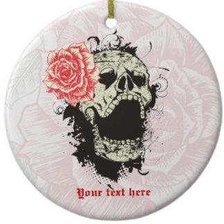 Goth skull with vintage rose  keepsake