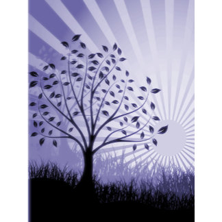 Trees, Leaves, Grass Silhouette & Sunburst Indigo