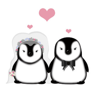 Wedding penguins with pink hearts