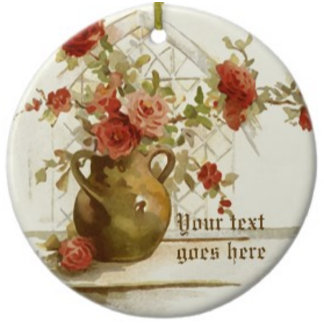 Vase with roses vintage fine art watercolor