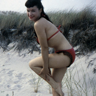 Bettie Page Vintage Beach Scene Photo Pinup