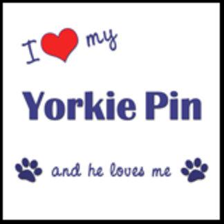 I Love My Yorkie Pin (Male Dog)