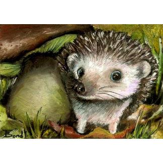 Little hedgehog guarding his mushroom