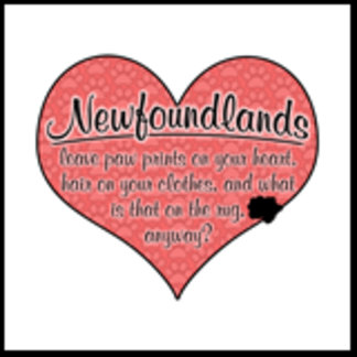 Newfoundland Paw Prints on Your Heart Humor