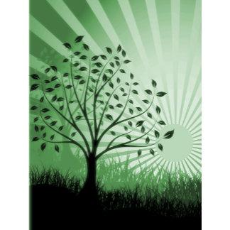 Trees, Leaves, Grass Silhouette & Sunburst Green