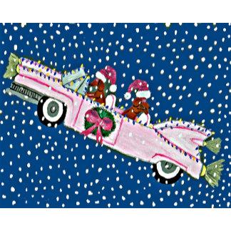 Dachshund Santas Christmas Pink Cadillac