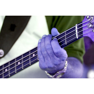 bass blue player hand on neck male photograph