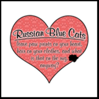 Russian Blue Paw Prints on Your Heart Humor