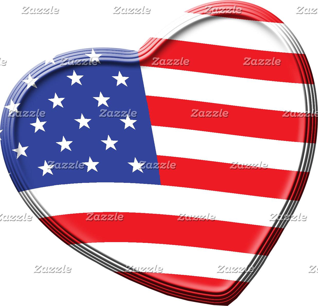 American Flag Heart Patriotic Colors