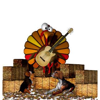 Cartoon turkey on hay guitar dogs Thanksgiving
