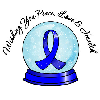 Colon Cancer Ribbon Merry Christmas Snowglobe