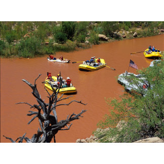 Oar powered rafts turn into the Colorado River