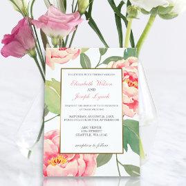 Pink Peonies Floral Wedding Invitations