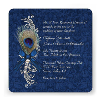 Blue Damask with Peacock Feather Wedding Products