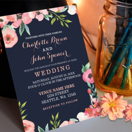 Navy and Peach Floral Wedding Invitations