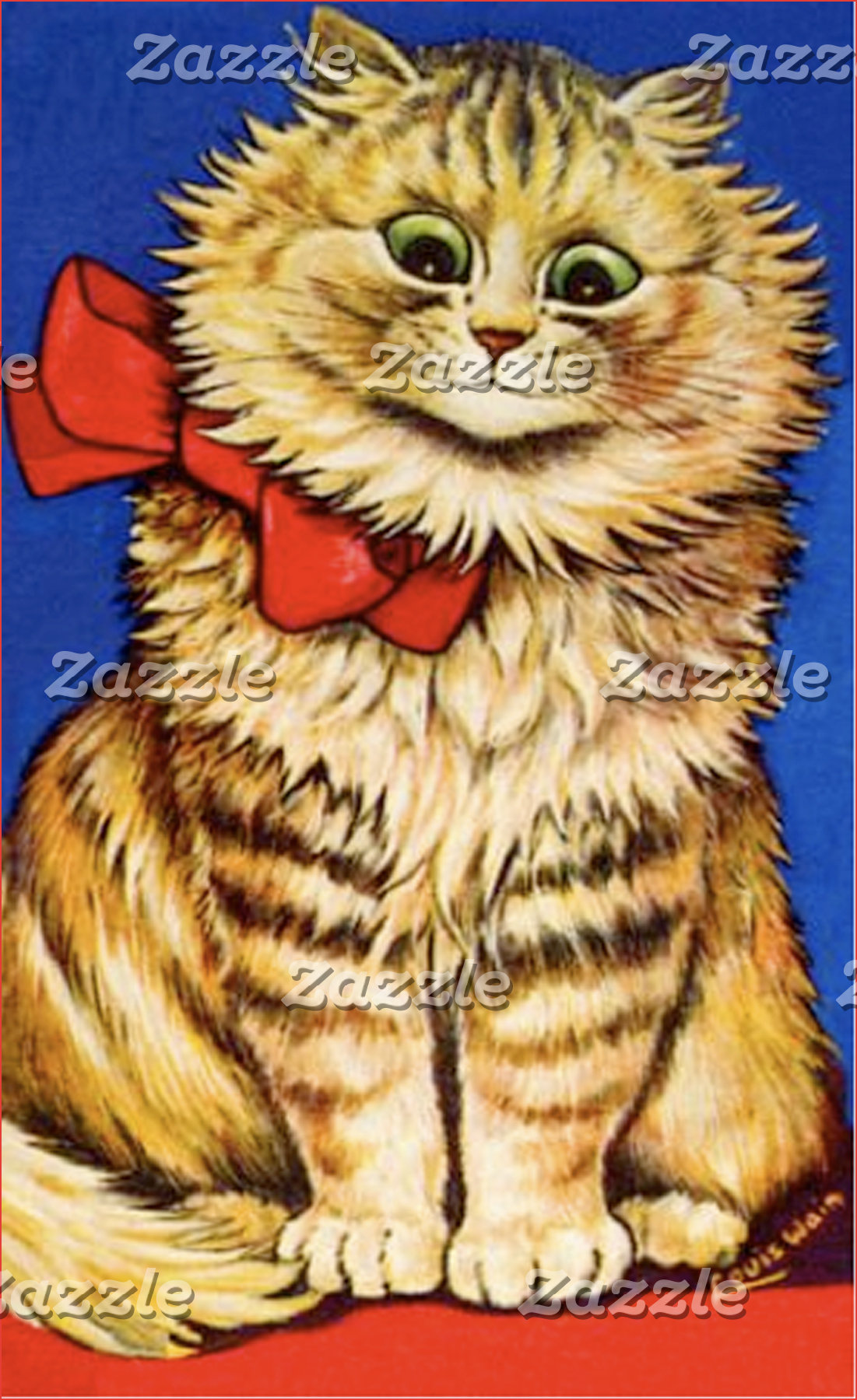 Brown Cat With a Red Bow