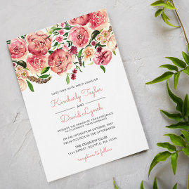 Peach and Pink Floral Wedding Invites