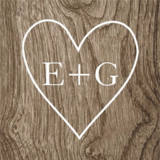 Heart with initials on wood