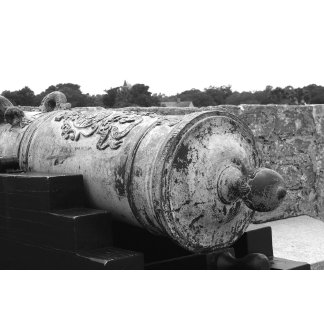 Canon at St Augustine Fort I bw