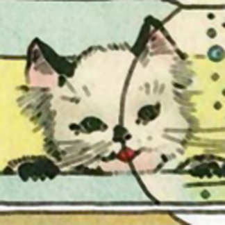 Vintage Cat with Fish Bowl