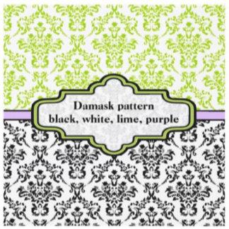 Black, white, lime, purple damask pattern