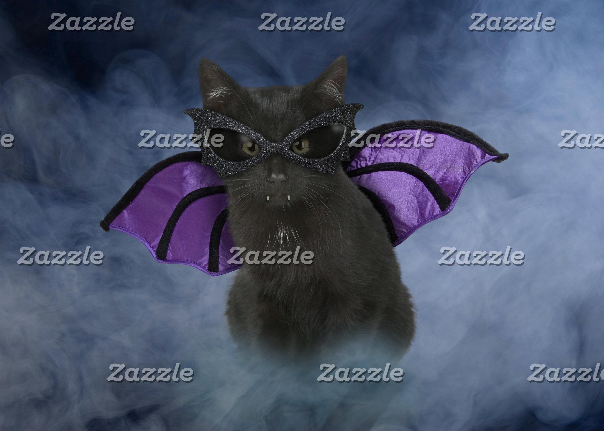 Vampire Cat Halloween Cards & Gifts