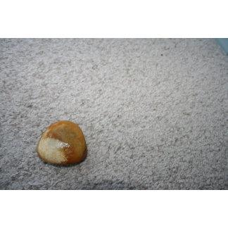 Brown round rock on cream carpet background