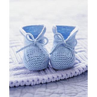 """blue baby booties w/blanket poster print"""