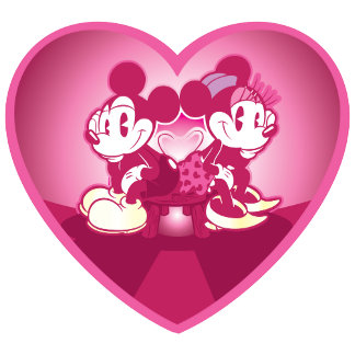 Mickey and Minnie Sitting Inside a Heart